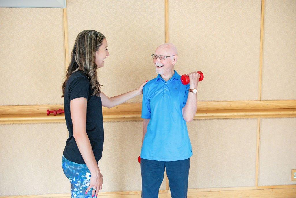 Seniors Personal trainer uses gentle exercises