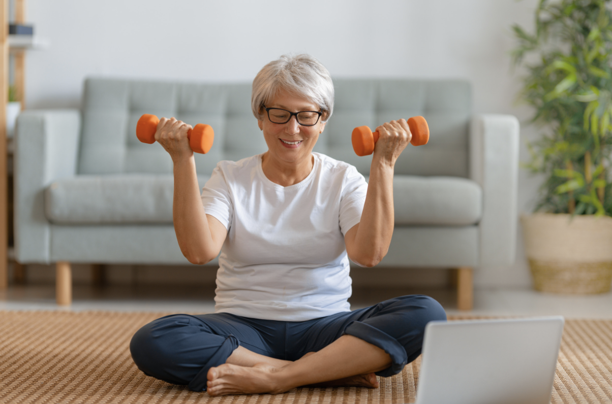 Gentle exercises provided by seniors personal trainer